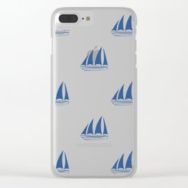 Blue Sailboat Pattern Clear iPhone Case