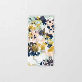 Sloane - Abstract painting in modern fresh colors navy, mint, blush, cream, white, and gold Hand & Bath Towel
