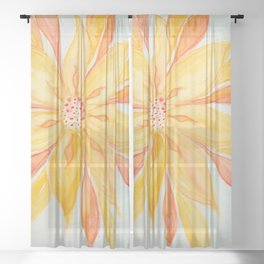 Sunburst Yellow and Orange Abstract Watercolor Flower Sheer Curtain