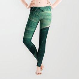 Green Palm Leaf Frond Tropical Leggings