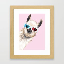 Sneaky Llama with 3D Glasses in Pink Framed Art Print