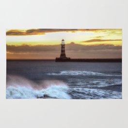 Roker pier and lighthouse sunrise Rug