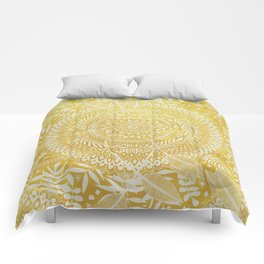 Medallion Pattern in Mustard and Cream Comforters