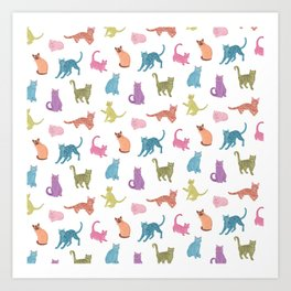 Colourful cats pattern Art Print