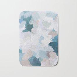 Turquoise Navy Blue Blush Pink Gray White Abstract Painting, Modern Wall Art, Digital Print Bath Mat