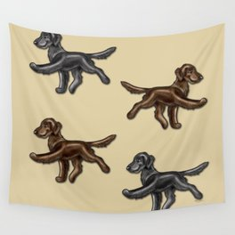 Flat Coated Retrievers Black and Liver Wall Tapestry