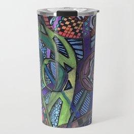 Jungle Facets - Mixed Media Original Art Travel Mug