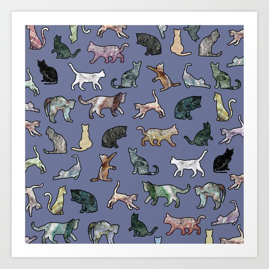 Cats shaped Marble - Violet Blue Art Print