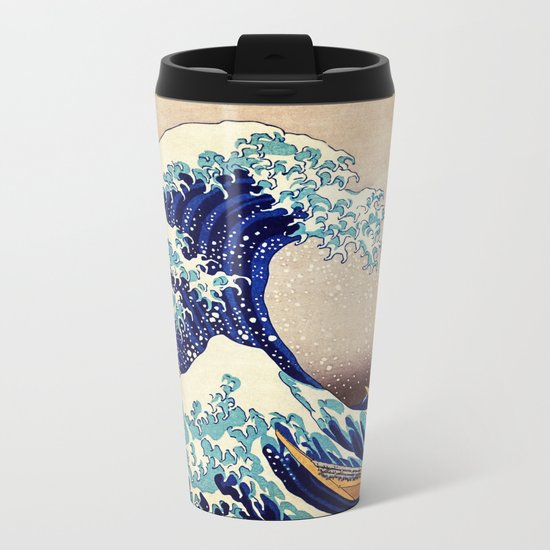 Katsushika Hokusai The Great Wave Off Kanagawa Metal Travel Mug