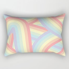 Soft Pastel Rainbow Stripes Pattern Rectangular Pillow