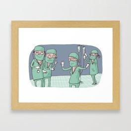happy surgeons expecting Framed Art Print