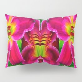 CERISE PINK LILY FLOWERS GREEN ABSTRACT Pillow Sham