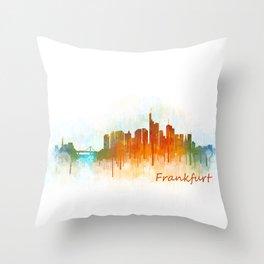 Frankfurt am Main, City Cityscape Skyline watercolor art v3 Throw Pillow