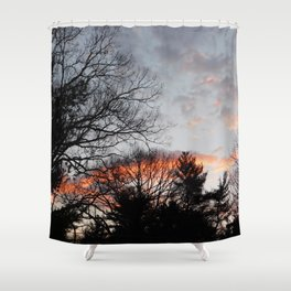 red clouds in the sky Shower Curtain
