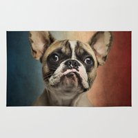 french Area & Throw Rugs featuring French bulldog, french flag ! by Life on White Creative