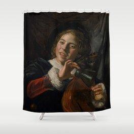 Frans Hals - Lute Playing Boy - Renaissance Fine Art Retro Vintage Oil Painting Shower Curtain