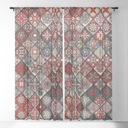 (N19) Colored Floral Moroccan Traditional Bohemian Artwork Sheer Curtain