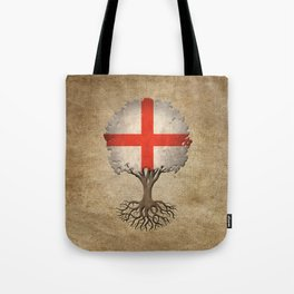 Vintage Tree of Life with Flag of England Tote Bag