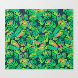 Monstera & Other Tropical Leaves Canvas Print