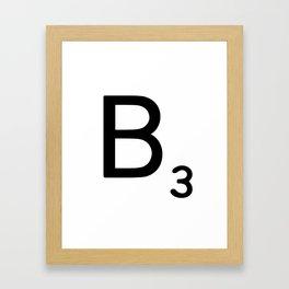 Letter B - Custom Scrabble Letter Wall Art - Scrabble B Framed Art Print