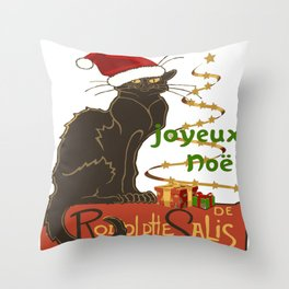 Joyeux Noel Le Chat Noir Christmas Parody Throw Pillow