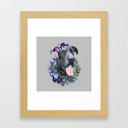 Flower power great Dane Framed Art Print