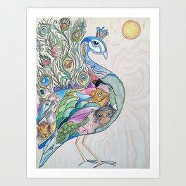 Planetary Peacock Art Print