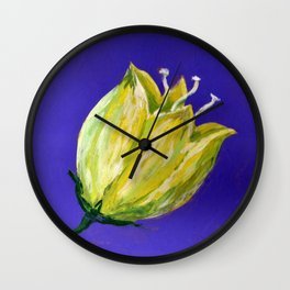 yellow tulip on purple acrylic painting Wall Clock