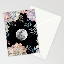 succulent full moon 4 Stationery Cards