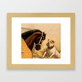 Vintage English Bulldog & Horse Illustration (1899) Framed Art Print