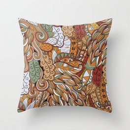 Stylized Boho Bulb Pattern Throw Pillow