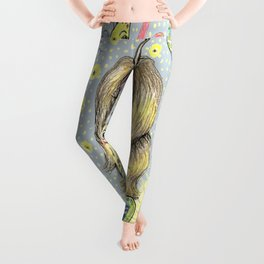 quirky fantasy bioluminescent butterfly girl and friends Leggings