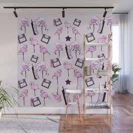 flamingos + floppy Wall Mural
