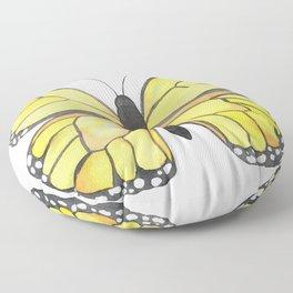 Monarch Butterfly - Yellow Floor Pillow