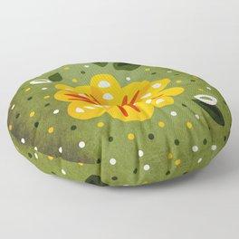 Abstract Yellow Primrose Flower Floor Pillow