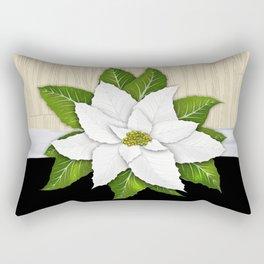 White Poinsettia Rectangular Pillow