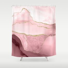 Watercolor Agate in blush, burgundy, faux gold veins Shower Curtain