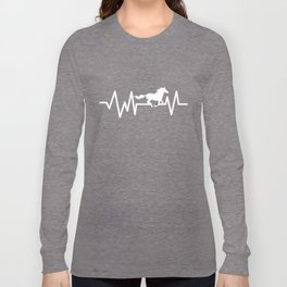 Horse Riding Horseback Rider Equestrian Horse Heartbeat Gift Long Sleeve T-shirt
