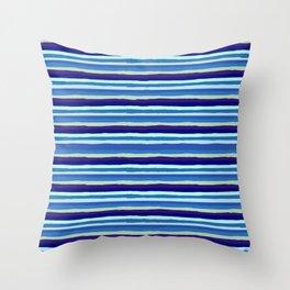 Shaky Stripes, Blue & Purple Throw Pillow