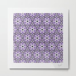 Symmetric Flower Pattern in Purple Metal Print