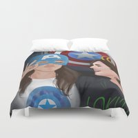 superheroes Duvet Covers featuring skimmons at the superheroes museum. by tantoun