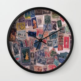 20th Century through stamps Wall Clock