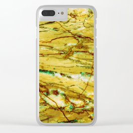 Yellow Marble Clear iPhone Case
