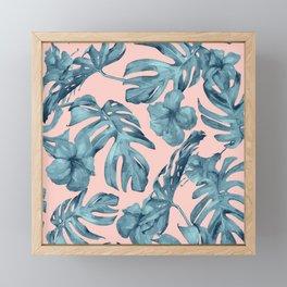 Island Life Teal on Light Pink Framed Mini Art Print