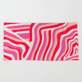 pink zebra stripes Beach Towel