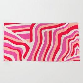 pink zebra stripes Beach Towel