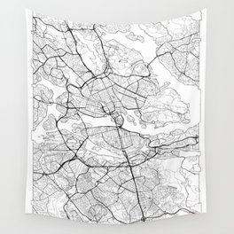 Stockholm Map White Wall Tapestry