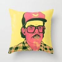 Throw Pillows featuring Sausage Man by BASE-V