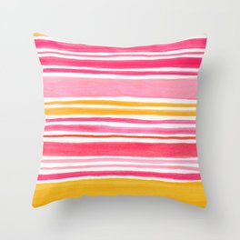 Pink and Yellow Sunny Day Stripes Throw Pillow