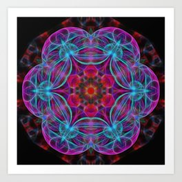Vibrant wheel of fortune mandala Art Print